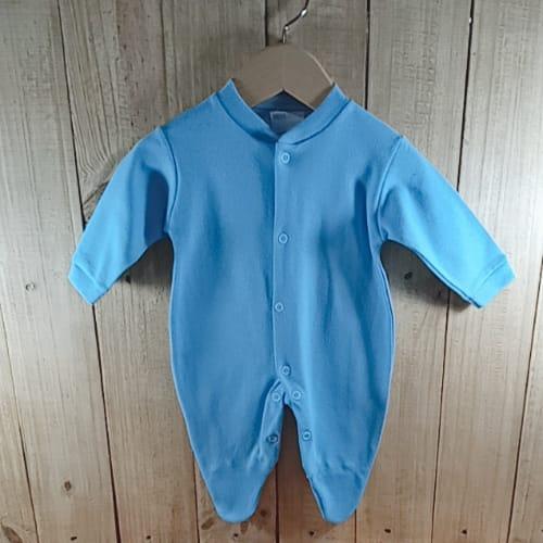 Macacão para Bebê em Malha Liso Com Pé  Azul  Claro
