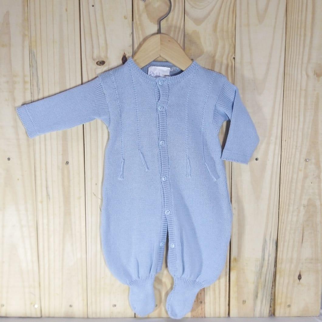 Macacão para Bebê em Tricot Barbante Azul Claro