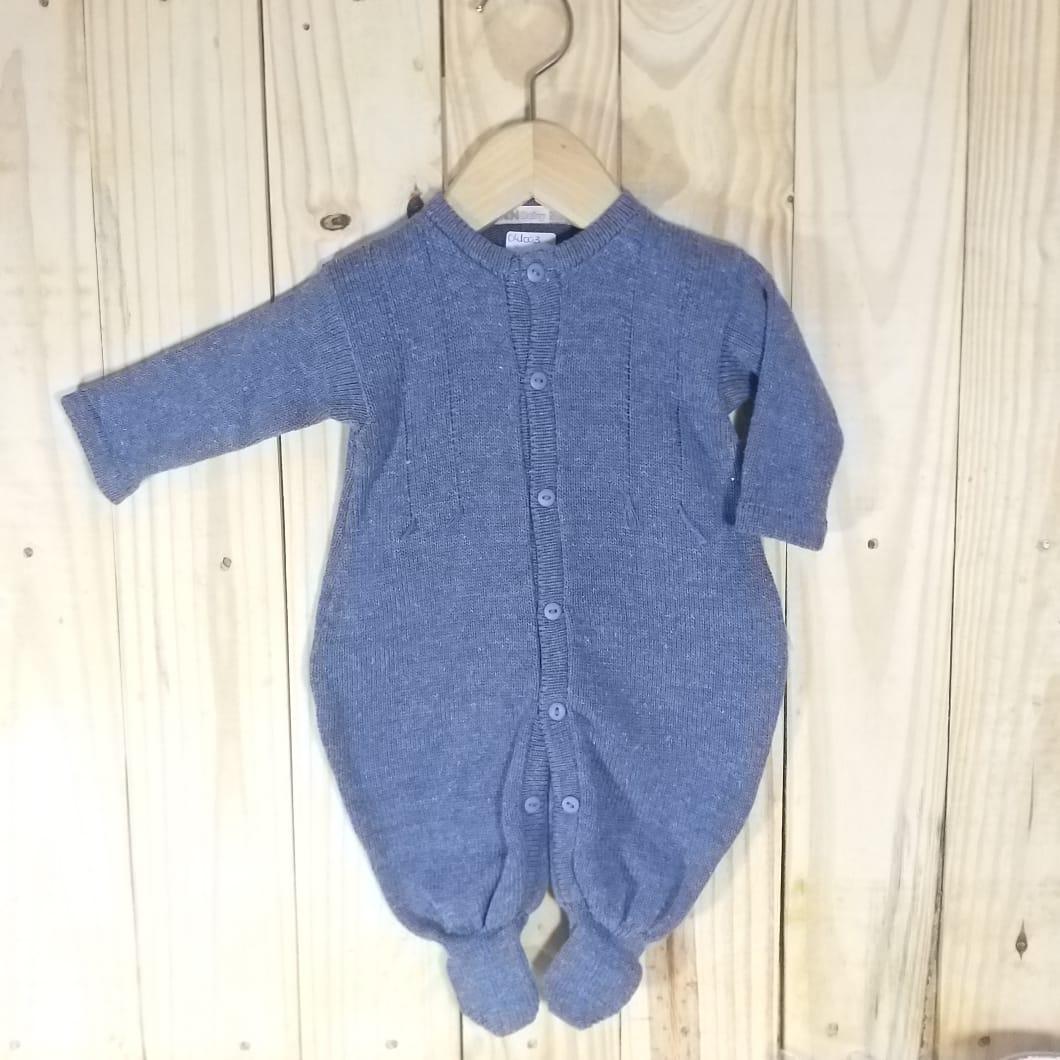 Macacão para Bebê em Tricot Barbante  Blue Jeans