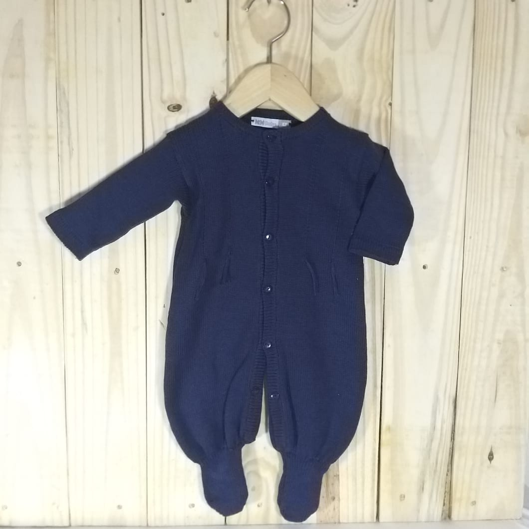 Macacão para Bebê em Tricot Barbante Marinho