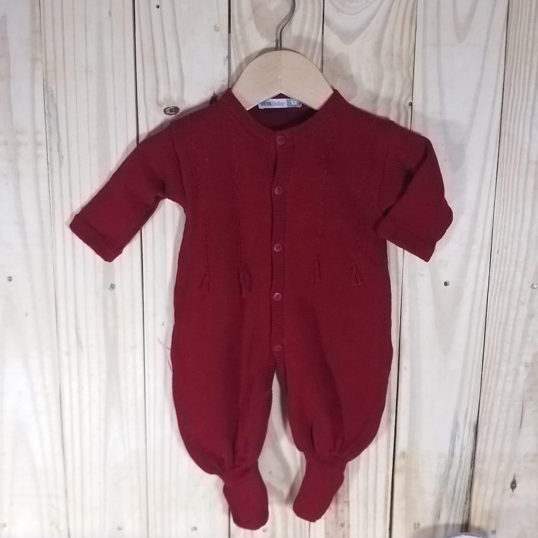 Macacão para Bebê em Tricot Barbante  vermelho