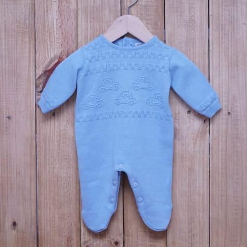 Macacão para Bebê em Tricot Carro Azul Claro