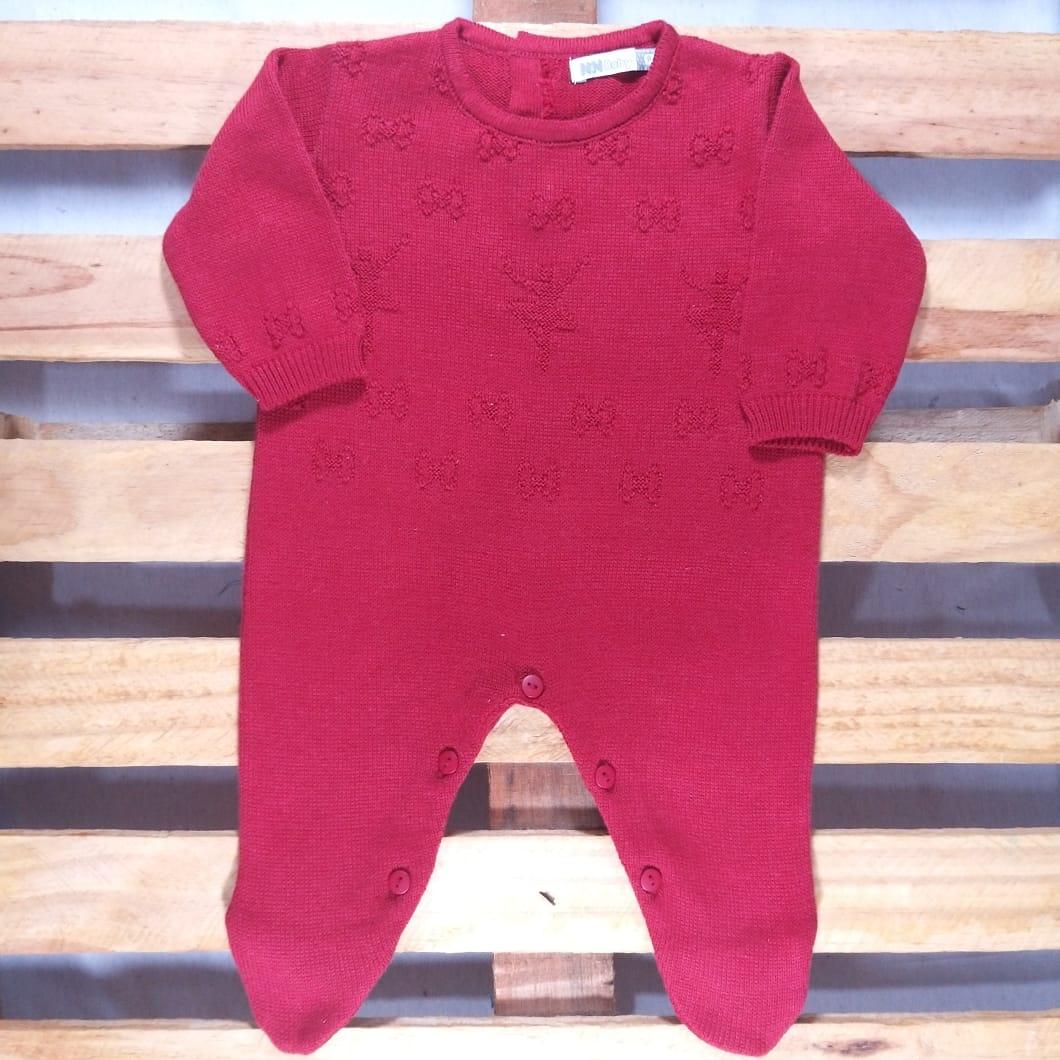 Macacão para Bebê em Tricot  Bailarina Vermelho
