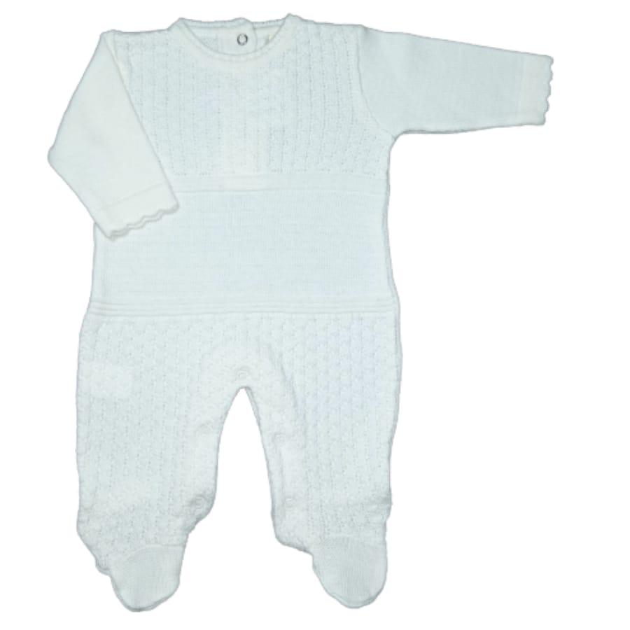 Macacão para Bebê em Tricot com Detalhes Off White