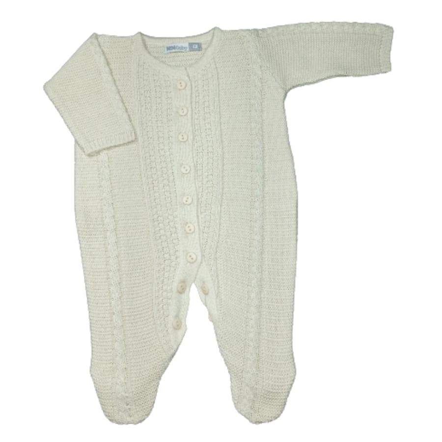 Macacão para Bebê em Tricot com Detalhes Trança
