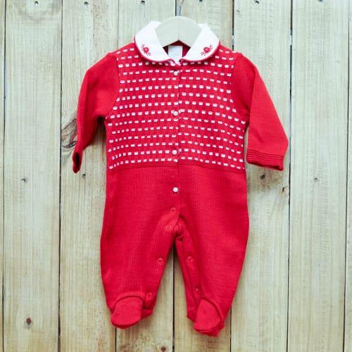 Macacão para Bebê em Tricot  Com Gola Bordada Vermelho com Detalhes Branco
