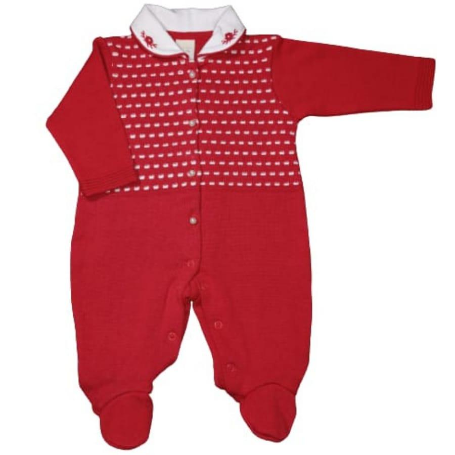 Macacão para Bebê em Tricot Gola Bordada Vermelho com Detalhes Branco