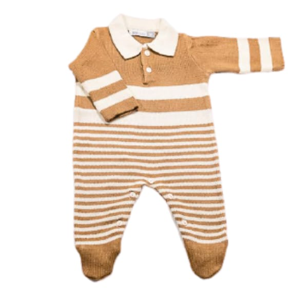 Macacão para Bebê em Tricot Gola Polo Listrado