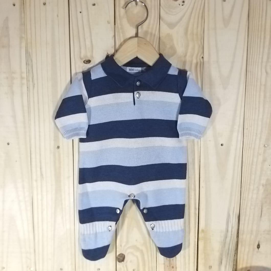 Macacão para Bebê em Tricot Gola Polo Listrado Azul com Marinho