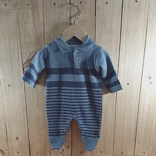 Macacão para Bebê em Tricot Gola Polo Listrado com Pézinho Blue Jeans com Marinho