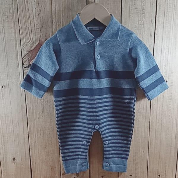Macacão para Bebê em Tricot Gola Polo Listrado sem Pé Blue jeans com Marinho