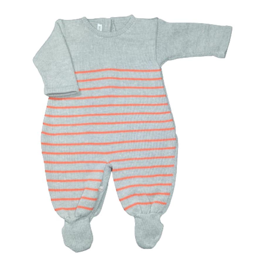 Macacão para Bebê em Tricot Listra Fina