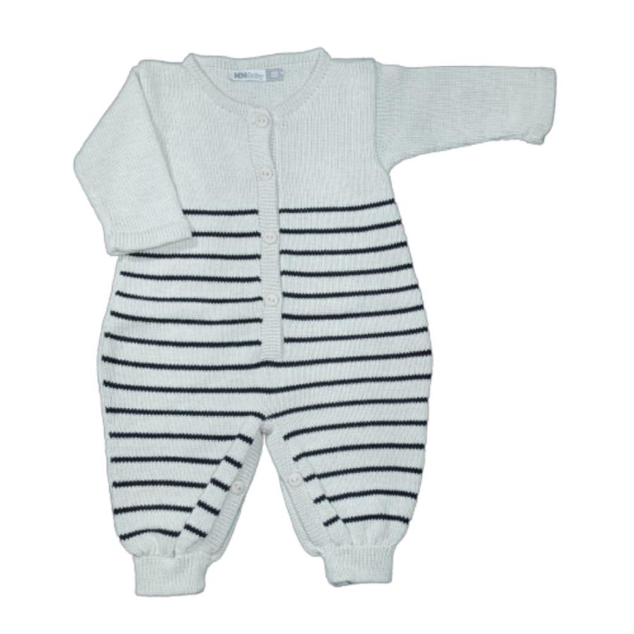Macacão para Bebê em Tricot Listrado com Botões Prata com Preto