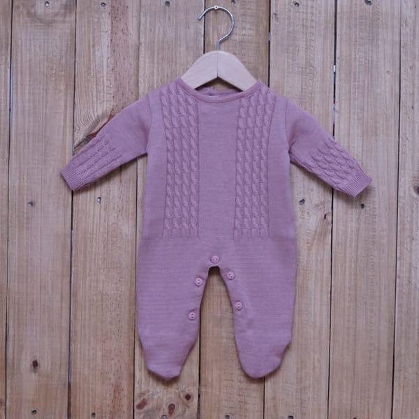 Macacão para Bebê em Tricot Trança Amarelina