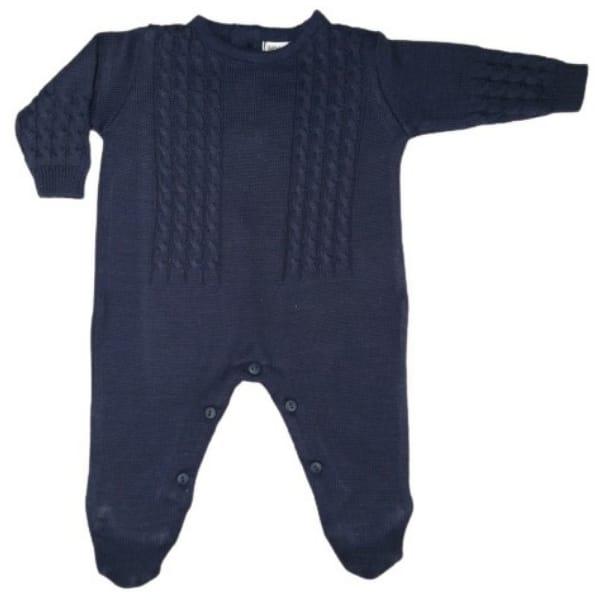 Macacão para Bebê em Tricot Trança Azul Marinho