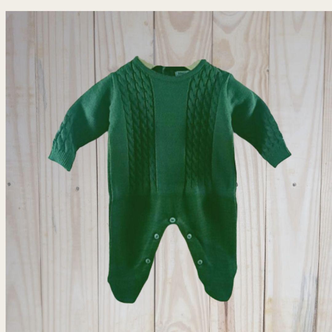 Macacão para Bebê em Tricot  Trança Verde Militar