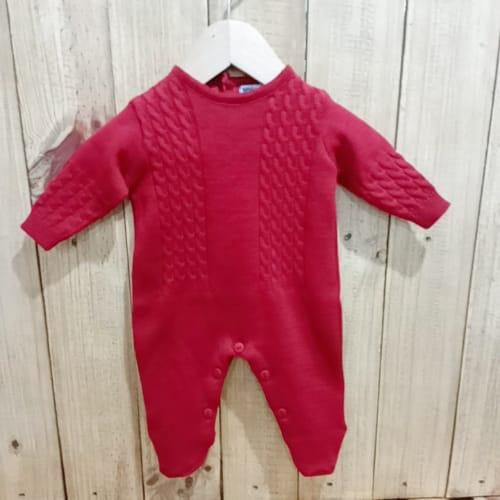 Macacão para Bebê em Tricot  Trança Vermelho