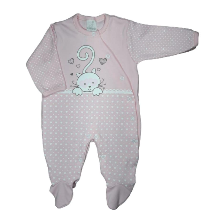 Macacão para Bebê Estampado Gatinha
