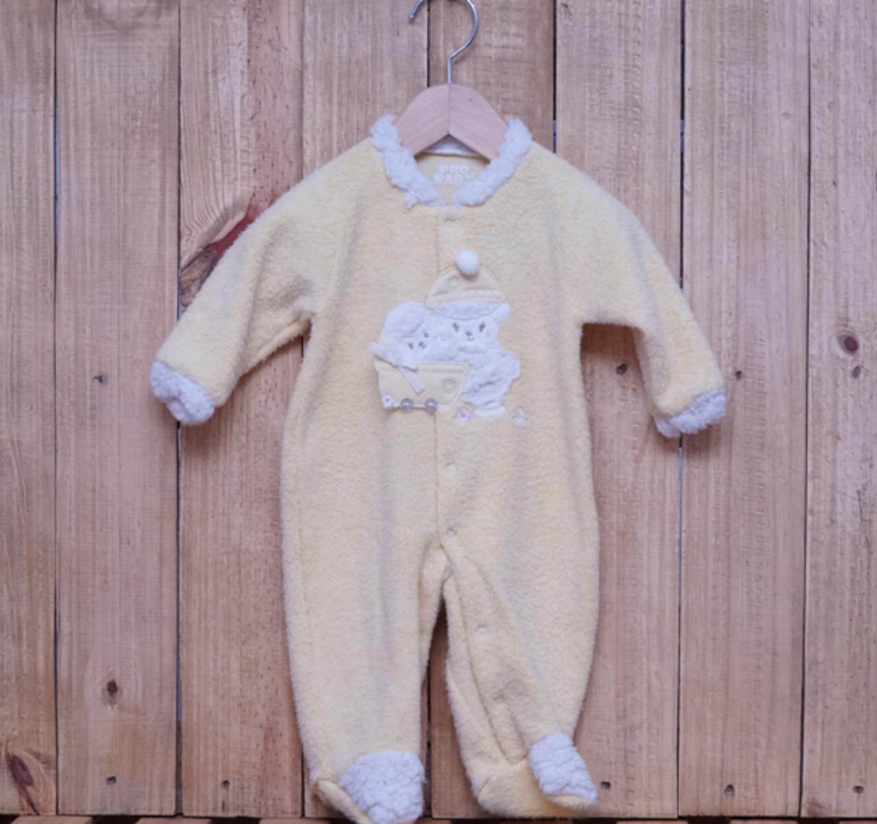 Macacão para Bebê Fleece Bordado Amarelo