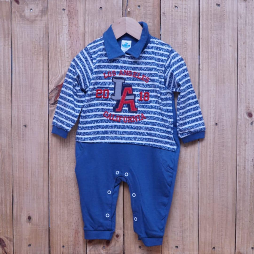 Macacão para Bebê Gola Polo Bordado Azul Jeans com Listras Branca
