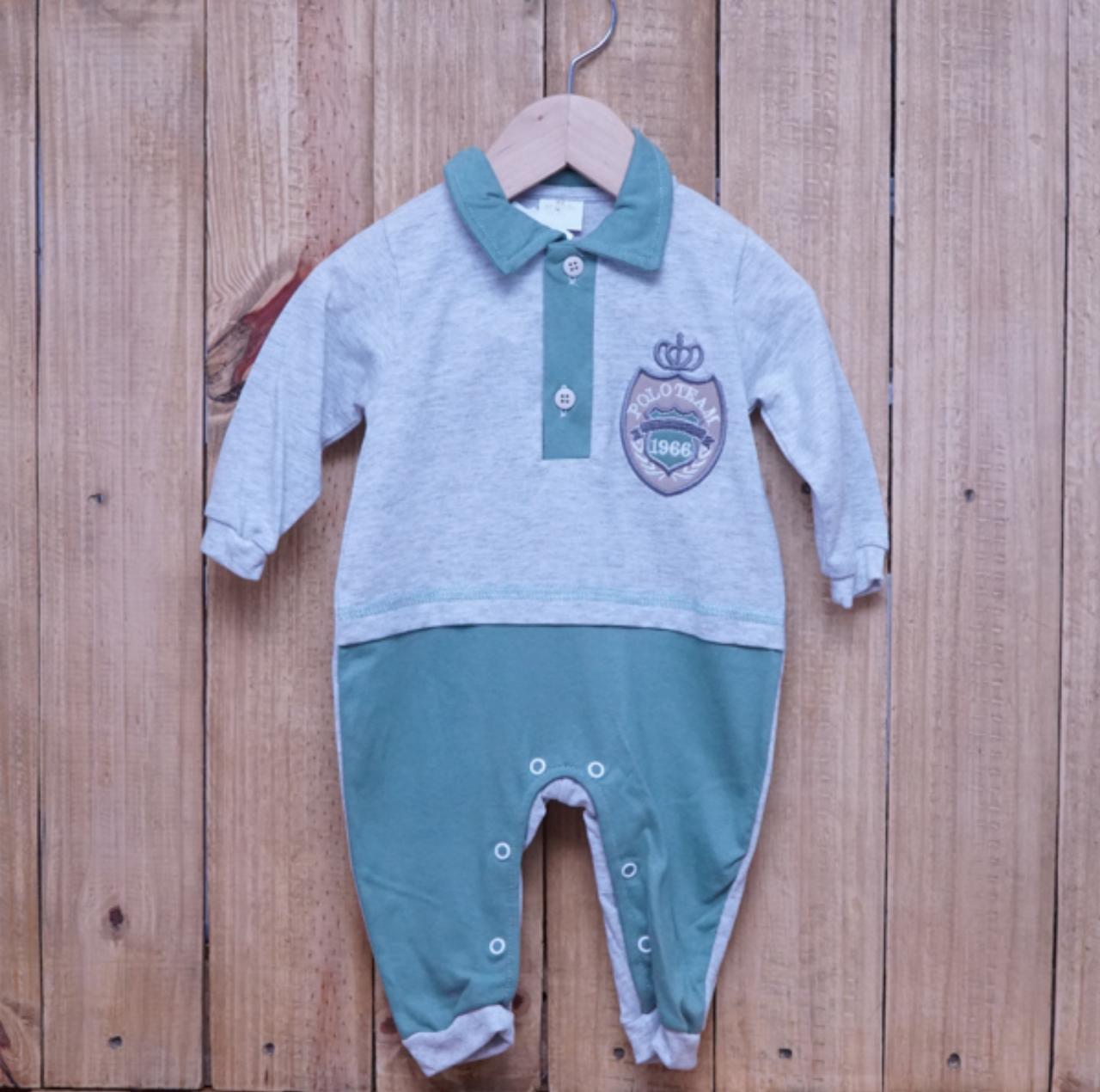 Macacão para Bebê Gola Polo Bordado Verde com Cinza