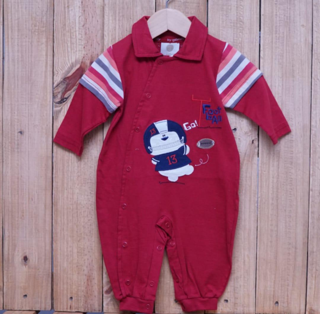 Macacão para Bebê Gola Polo Bordado Vermelho