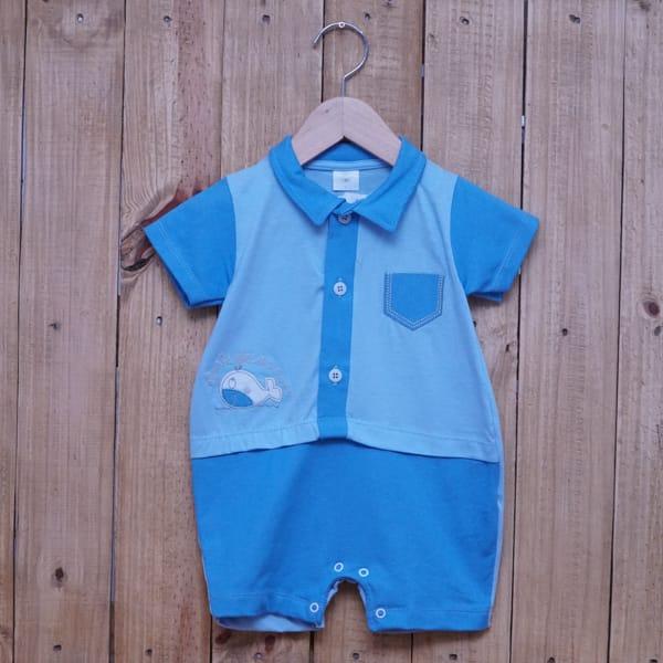 Macacão para Bebê Gola Polo Curto Baleia Azul Claro