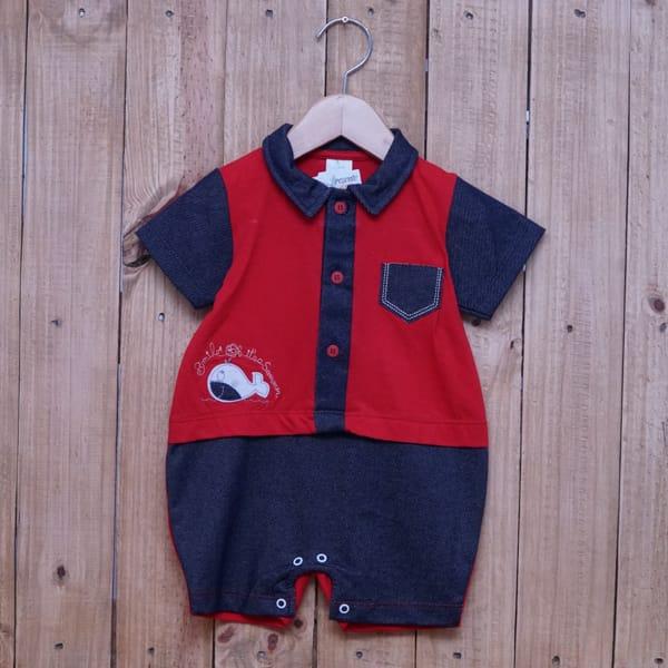 Macacão para Bebê Gola Polo Curto Baleia Vermelho