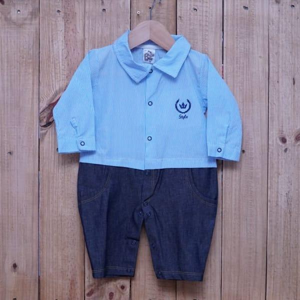 Macacão para Bebê Listrado com Jeans Azul Claro