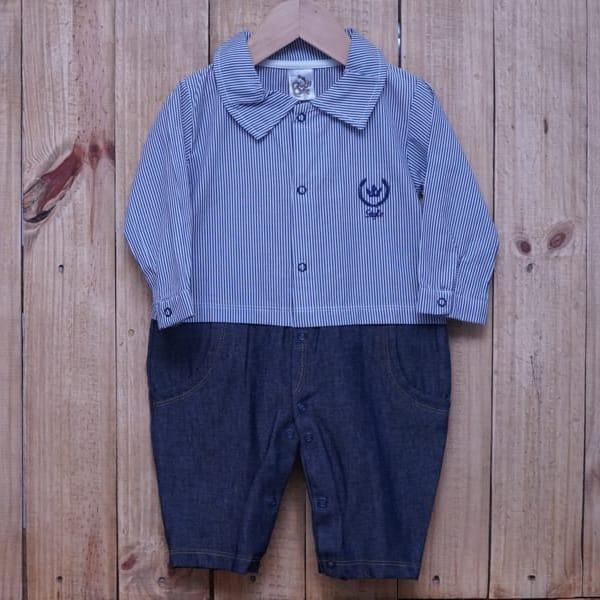 Macacão para Bebê Listrado com Jeans Marinho