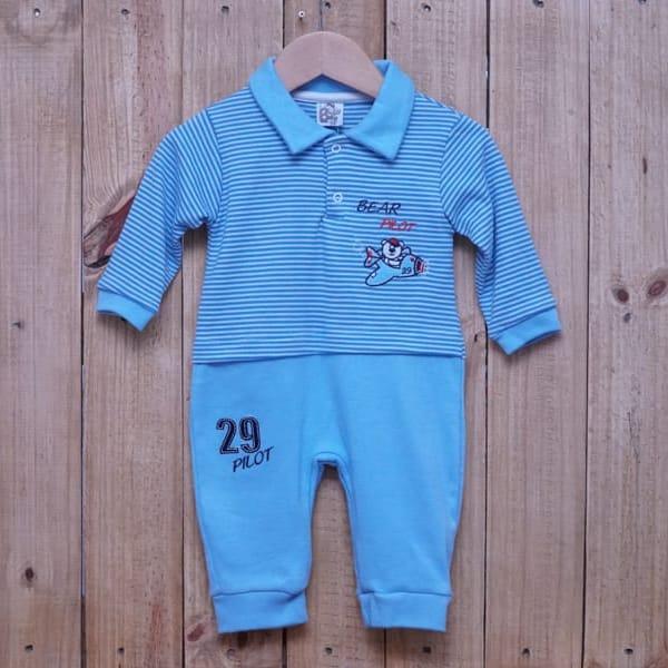 Macacão para Bebê Listrado Piloto Azul Claro
