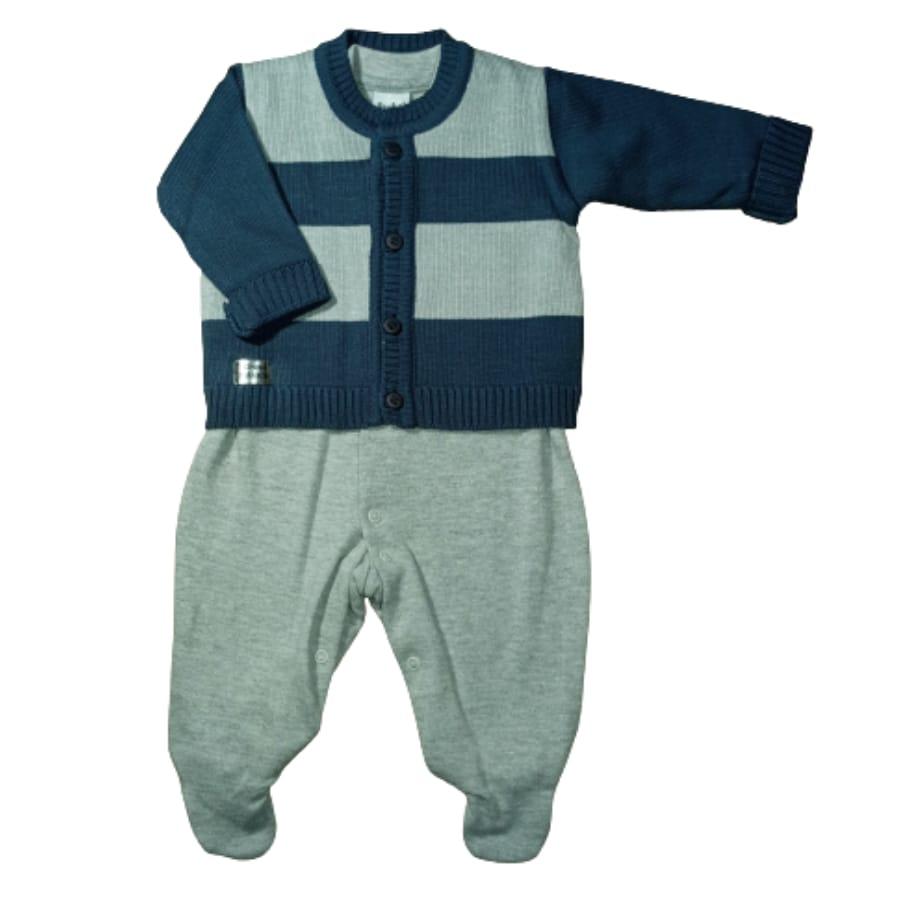Macacão para Bebê Longo Malha com casaco de Tricot