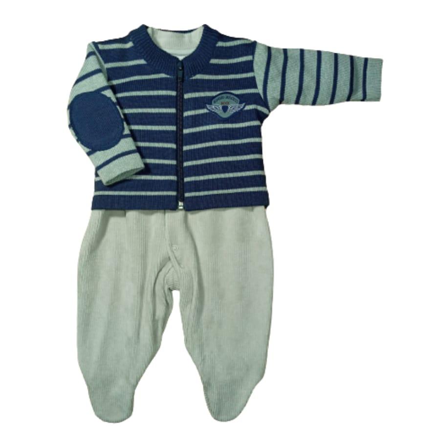 Macacão para Bebê Longo Plush com casaco de Tricot