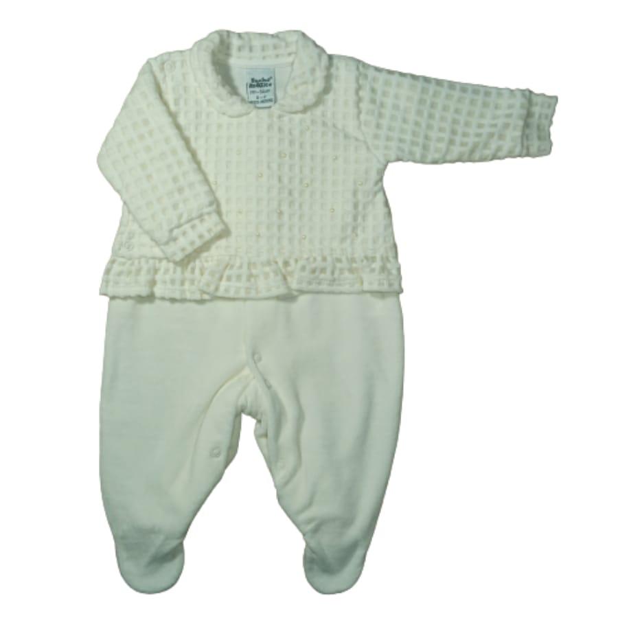 Macacão para Bebê Longo Plush com Detalhe de Pérolas