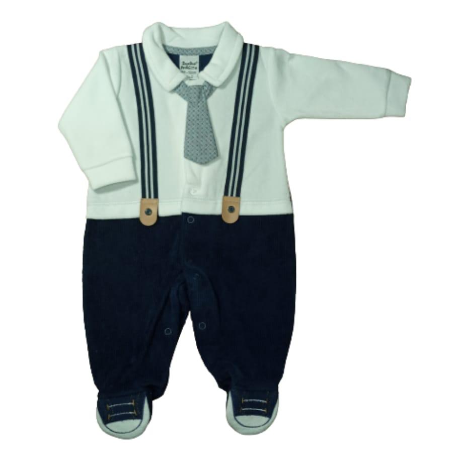 Macacão para Bebê Longo Plush com Detalhe de Suspensório