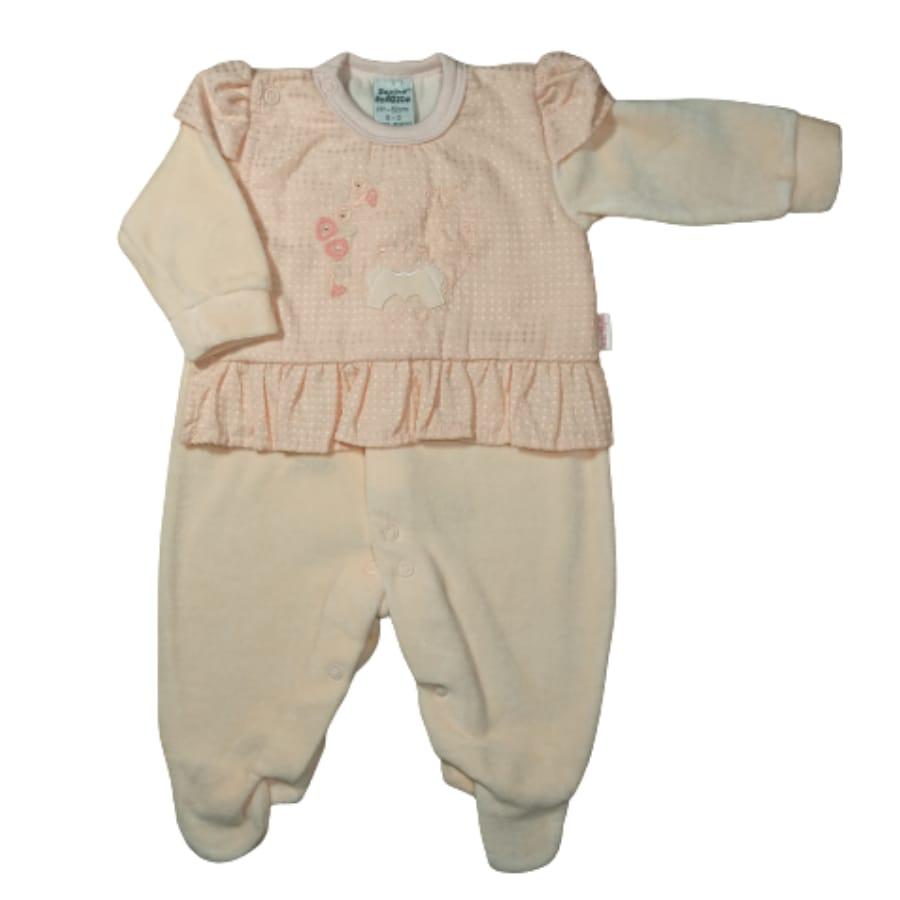Macacão para Bebê Longo Plush com Detalhe de Tecido