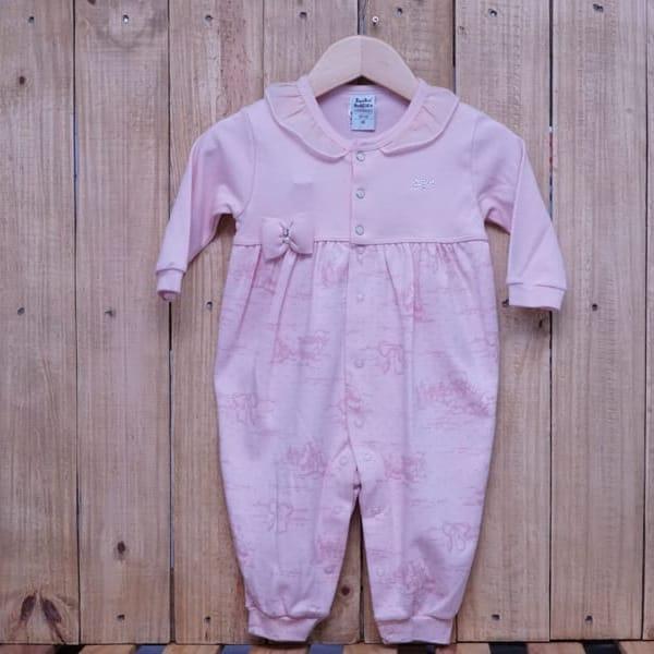 Macacão para Bebê Longo Suedine Printed Rosa