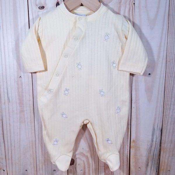 Macacão para Bebê Malha Amarelo Ursinho