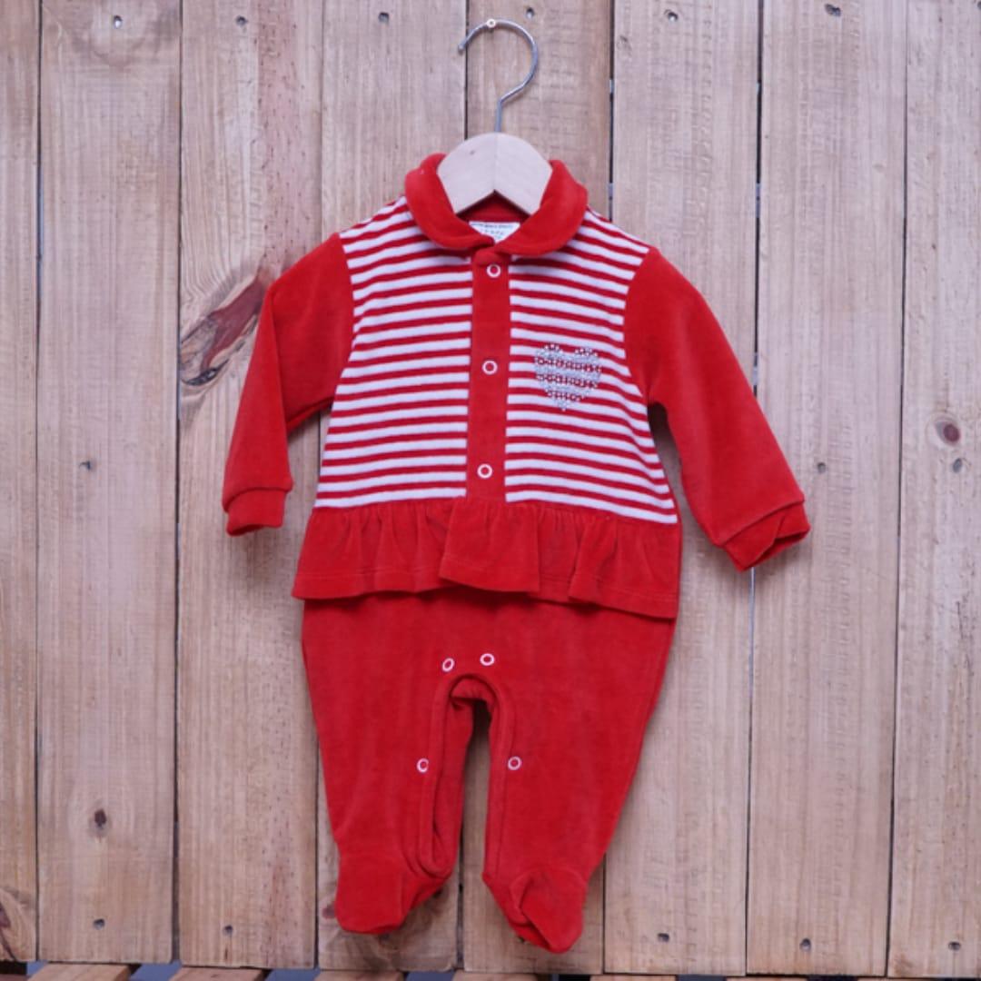 Macacão para Bebê  Plush Listrado Vermelho