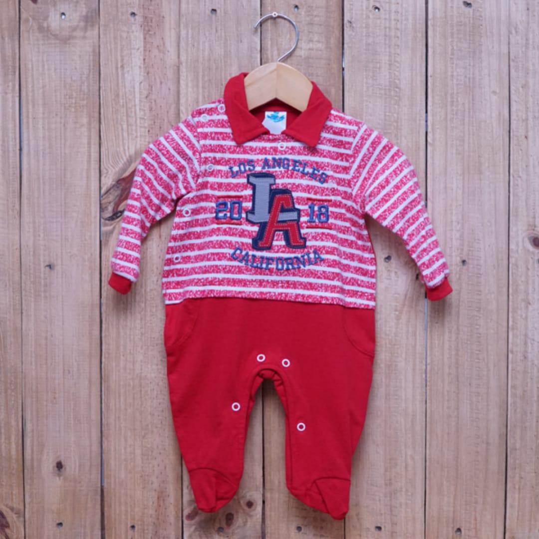 Macacão para Bebê Listrado e com Bordado Vermelho
