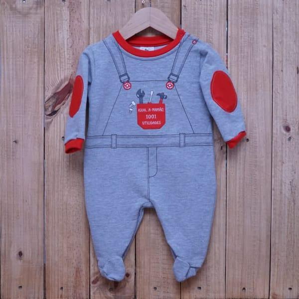 Macacão para Bebê Moletinho Jardineira Estampado Cinza