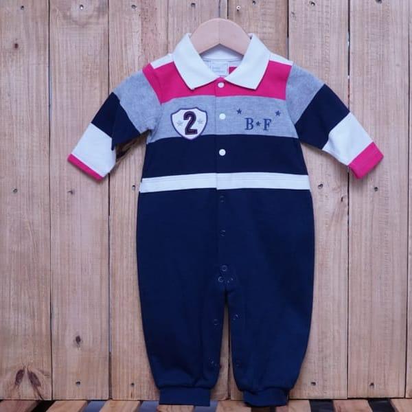 Macacão para Bebê Listrado e Bordado Azul Marinho Cinza e Pink