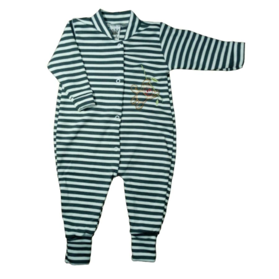 Macacão para Bebê Pé Reversível Listrado Bordado