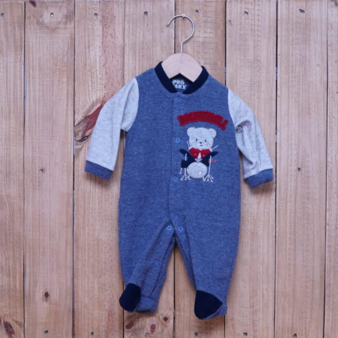 Macacão para Bebê Plush Bordado Azul Jeans  com Cinza