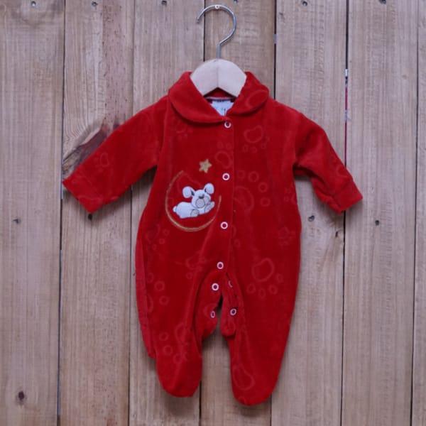 Macacão para Bebê Plush Bordado Cachorrinho e Estrela Vermelho