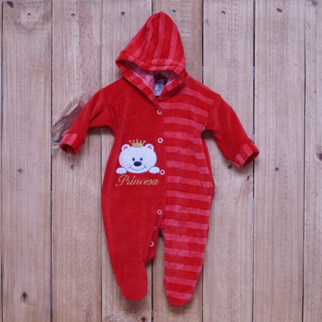 Macacão para Bebê Plush Bordado com Capuz