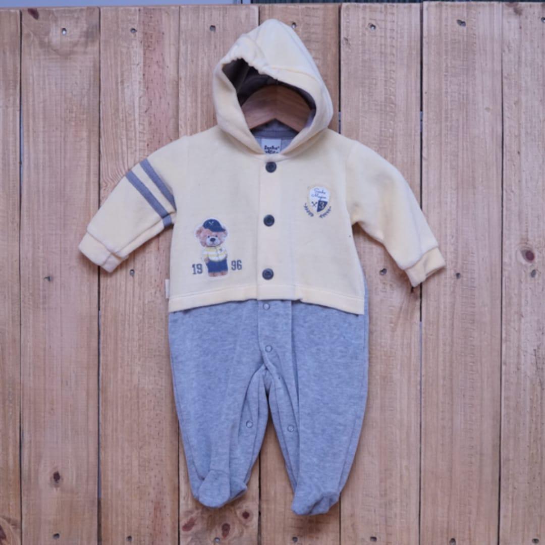 Macacão para Bebê Plush Bordado com Capuz Amarelo com Cinza