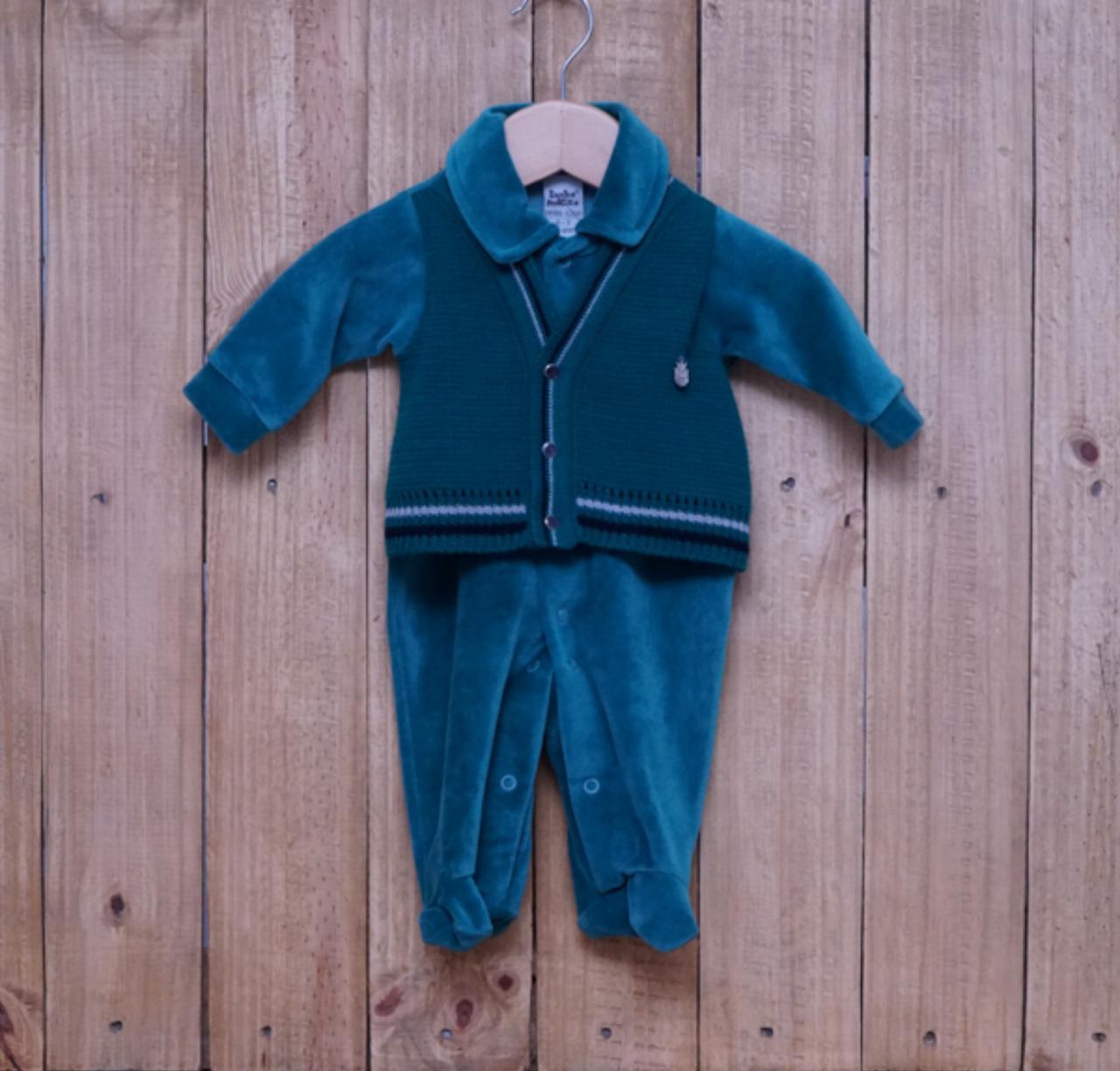Macacão para Bebê Plush Bordado com Detalhe em Tricot Verde