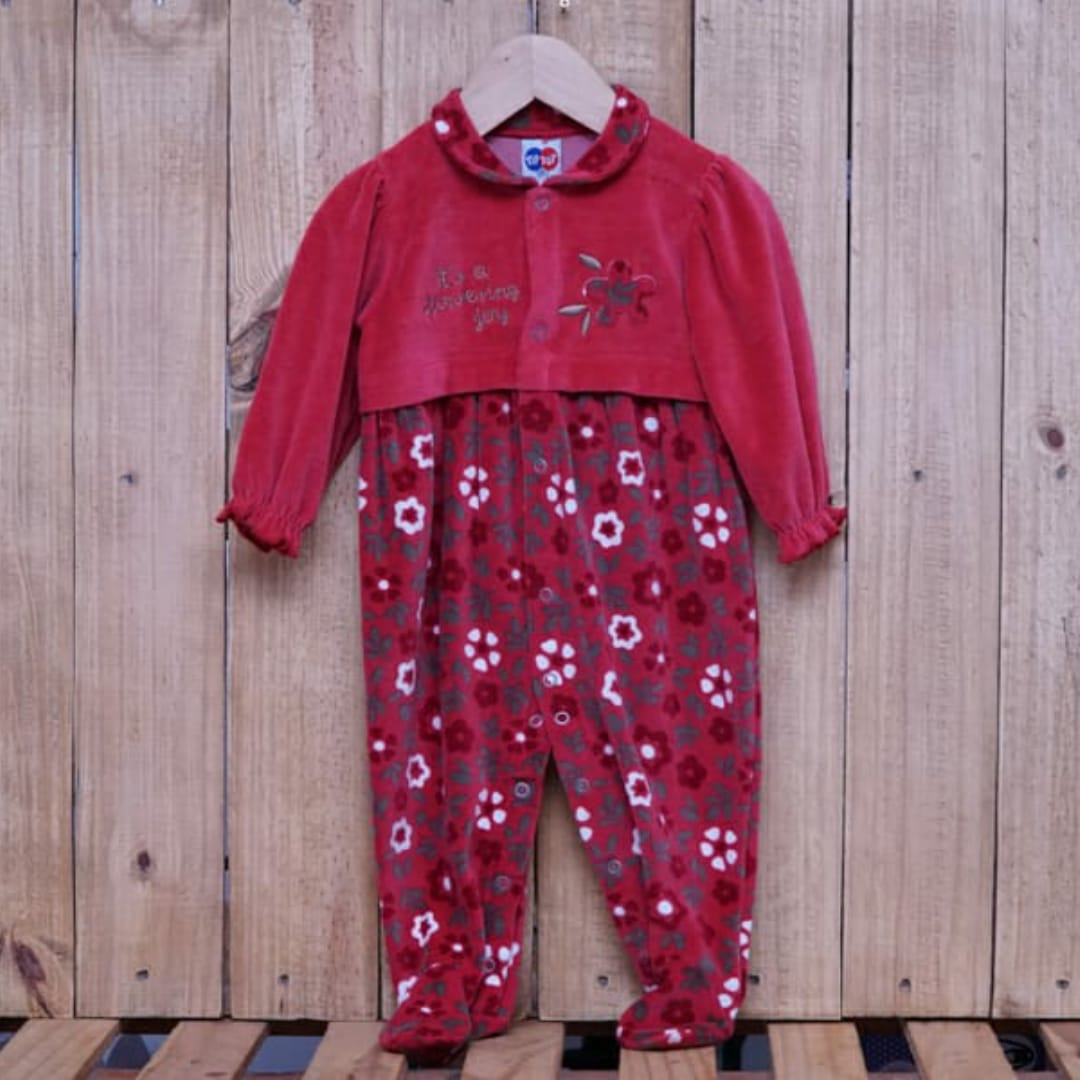 Macacão para Bebê Plush Bordado com Estampa em Flores Vermelho