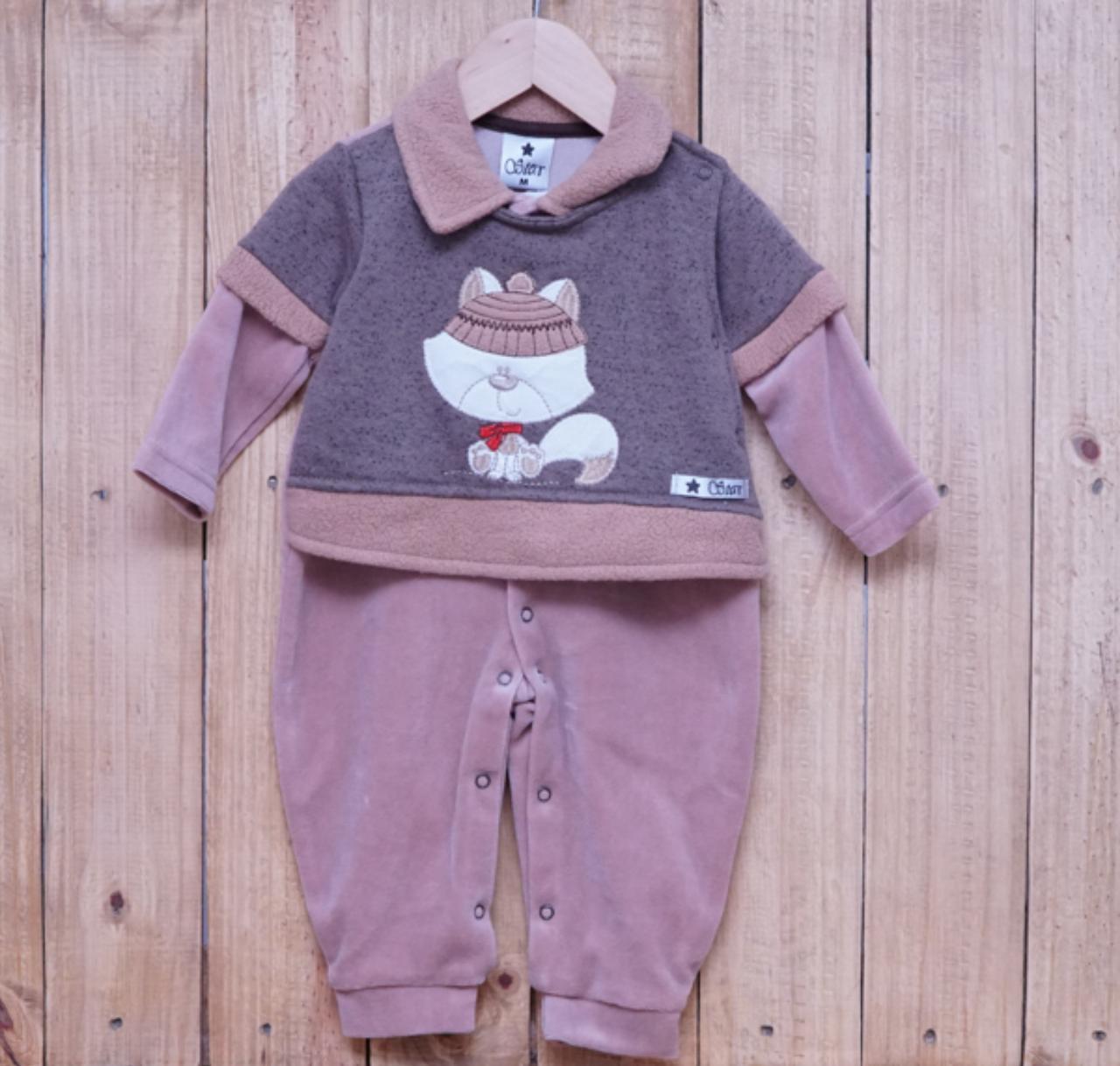 Macacão para Bebê Plush Bordado com Gola Polo Bege
